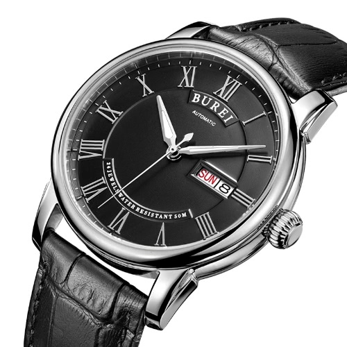 BUREI Auto Date Analog Waterproof Automatic Mechanical Watch for MenApparel &amp; Jewelry<br>BUREI Auto Date Analog Waterproof Automatic Mechanical Watch for Men<br>