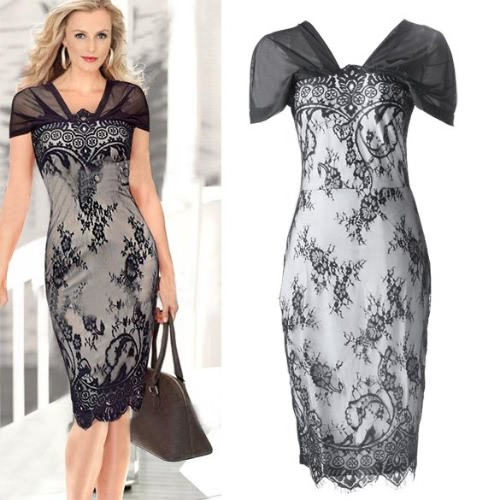 New Womens Sexy Style Bodycon Lace Splicing Ladies Party Evening DressApparel &amp; Jewelry<br>New Womens Sexy Style Bodycon Lace Splicing Ladies Party Evening Dress<br>