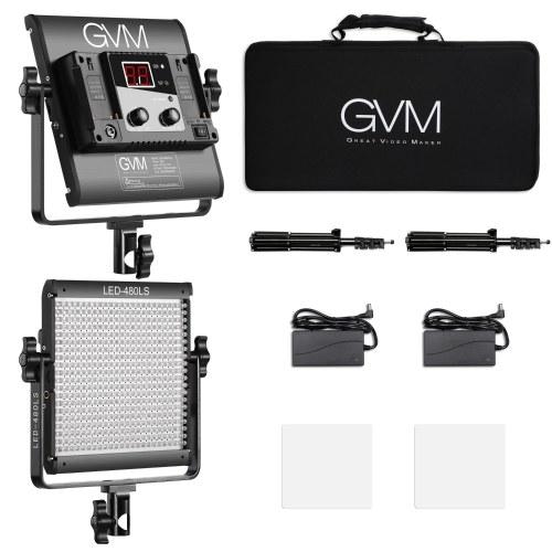 GVM LED-480LS 2pcs Dimmable Bi-cor LED Painel de Luz de Vídeo e Kit de Iluminação de 70 polegadas CRI97 + TLCI97 2300K-6800K Caixa de Liga de Alumínio com U-Suporte de Filme Entrevista Estúdio de tomada de Fotografia