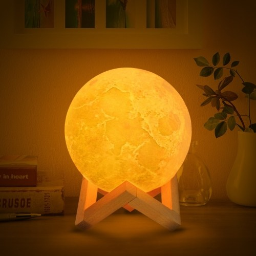 3D Printing Moon Light Bedroom Decor with Wooden Stand--12cm