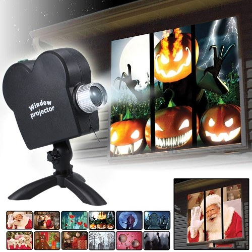 12 Movies Mini Christmas Halloween Window Home Theater Projector-Updated Version