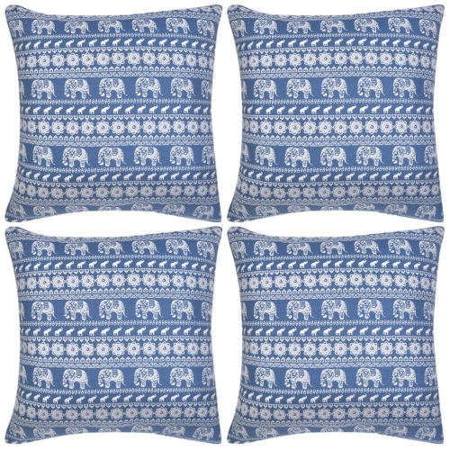 Pillow Covers 4 pcs Canvas Elephant Printed Blue 50x50 cmHome &amp; Garden<br>Pillow Covers 4 pcs Canvas Elephant Printed Blue 50x50 cm<br>