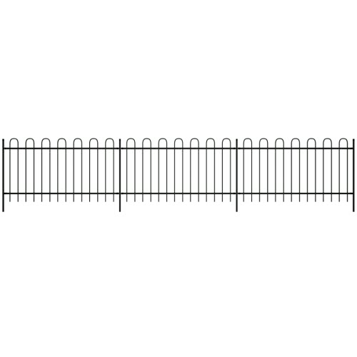 Ornamental Security Palisade Fence Steel Black Hoop Top 150 cmHome &amp; Garden<br>Ornamental Security Palisade Fence Steel Black Hoop Top 150 cm<br>