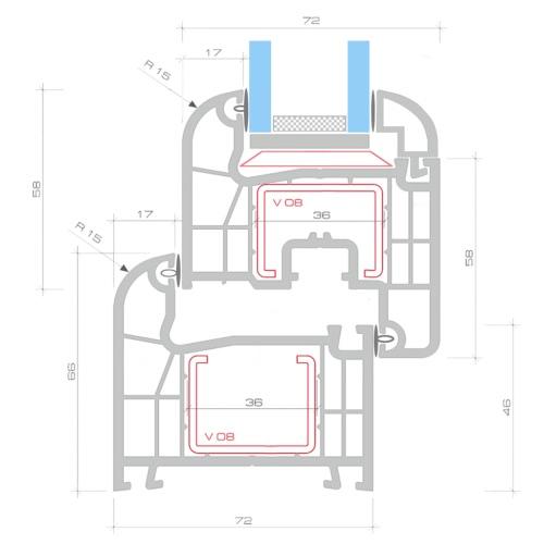 2 Fach Verglast Drehkippfenster PVC linksseitig Griff 900x400mmHome &amp; Garden<br>2 Fach Verglast Drehkippfenster PVC linksseitig Griff 900x400mm<br>
