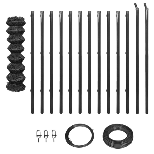 Chain-Link Fence Set with Posts and Hardware 1,25x25 m GreyHome &amp; Garden<br>Chain-Link Fence Set with Posts and Hardware 1,25x25 m Grey<br>