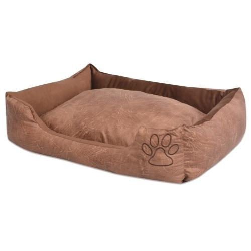 Cama de cachorro com almofada PU de couro artificial tamanho S Beige