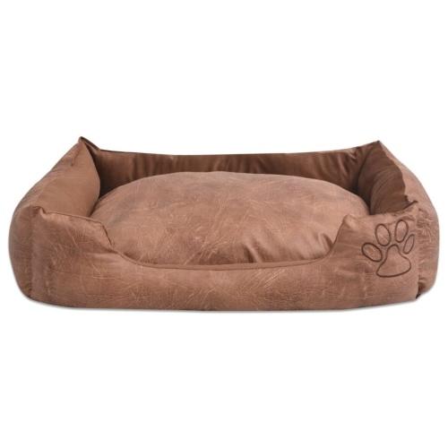 Cama de cachorro com almofada PU de couro artificial tamanho XL Beige