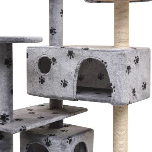 Post de arranhão de gato 125 cm Paw Print Grey