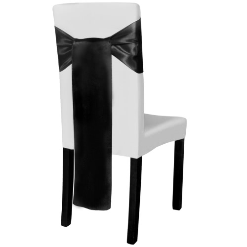 25 pcs Black Satin Decorative Chair SashHome &amp; Garden<br>25 pcs Black Satin Decorative Chair Sash<br>
