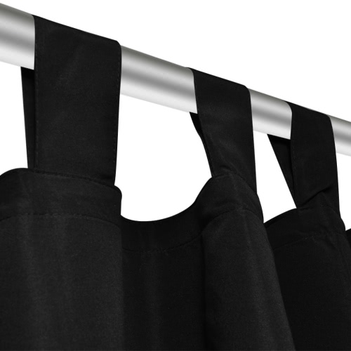 2 pcs Black Micro-Satin Curtains with Loops 140 x 225 cmHome &amp; Garden<br>2 pcs Black Micro-Satin Curtains with Loops 140 x 225 cm<br>