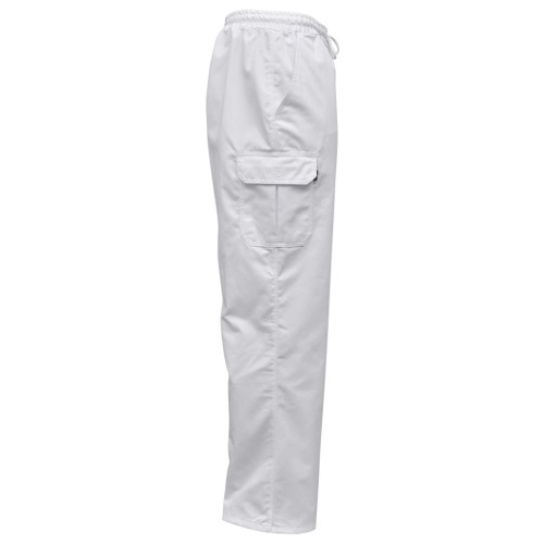 Chef Pants 2 pcs Stretchable Waistband with Cord Size XL White