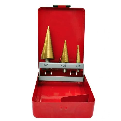 3-Piece HSS Step Drill SetTest Equipment &amp; Tools<br>3-Piece HSS Step Drill Set<br>