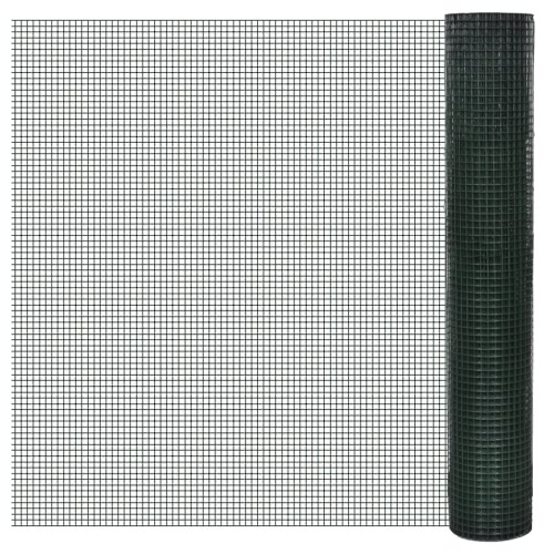 Square Wire Netting 1x25 m PVC-coated Galvanized Mesh Size 16x16 mmHome &amp; Garden<br>Square Wire Netting 1x25 m PVC-coated Galvanized Mesh Size 16x16 mm<br>