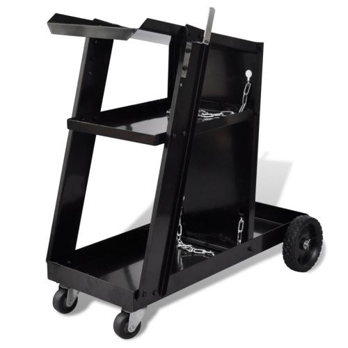Welding Cart Black Trolley with 3 Shelves Workshop OrganiserTest Equipment &amp; Tools<br>Welding Cart Black Trolley with 3 Shelves Workshop Organiser<br>