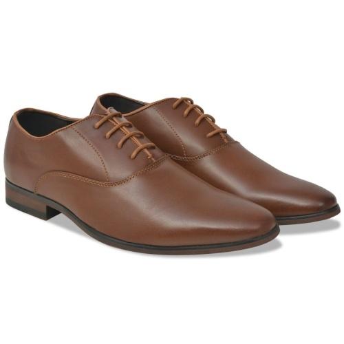 حذاء رجالي برباط للإغلاق بني مقاس 45 من جلد PU