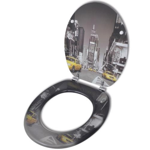 Coperchio da Toilette in MDF con Modello New YorkHome &amp; Garden<br>Coperchio da Toilette in MDF con Modello New York<br>