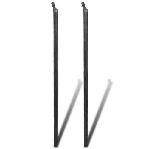 Poteau d'appui pour clôture en mailles 2 pcs 150 cm Gris