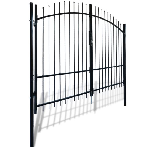 Double Door Fence Gate with Spear Top 10 x 7Home &amp; Garden<br>Double Door Fence Gate with Spear Top 10 x 7<br>