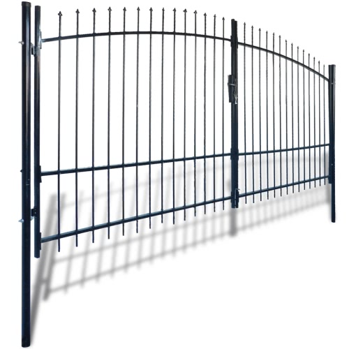 Double Door Fence Gate with Spear Top 13 x 7Home &amp; Garden<br>Double Door Fence Gate with Spear Top 13 x 7<br>