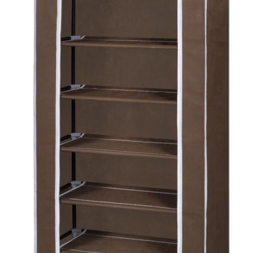Fabric Shoe Cabinet with Cover 162 x 57 x 29 cm BrownHome &amp; Garden<br>Fabric Shoe Cabinet with Cover 162 x 57 x 29 cm Brown<br>