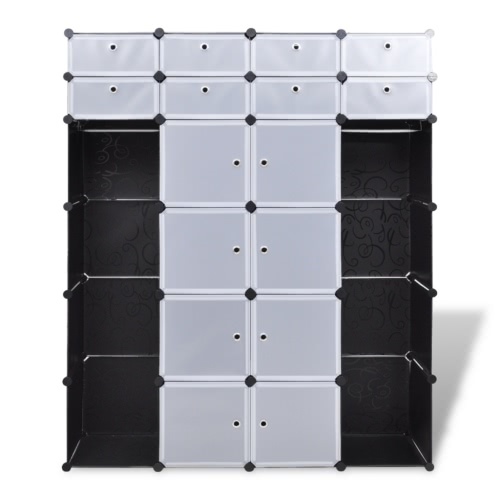 Modular Cabinet with 18 Compartments Black and White 37 x 150 x 190 cmHome &amp; Garden<br>Modular Cabinet with 18 Compartments Black and White 37 x 150 x 190 cm<br>