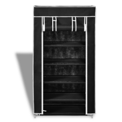 Fabric Shoe Cabinet with Cover 58 x 28 x 106 cm BlackHome &amp; Garden<br>Fabric Shoe Cabinet with Cover 58 x 28 x 106 cm Black<br>