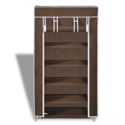 Fabric Shoe Cabinet with Cover 58 x 28 x 106 cm BrownHome &amp; Garden<br>Fabric Shoe Cabinet with Cover 58 x 28 x 106 cm Brown<br>