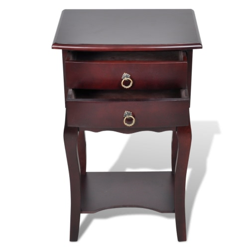 Telephone Cabinet Bedside Cabinet 2 Drawers BrownHome &amp; Garden<br>Telephone Cabinet Bedside Cabinet 2 Drawers Brown<br>