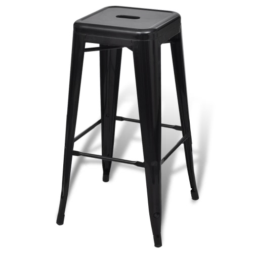 Bar Chair High Chair Bar Stool Square 2 pcs BlackHome &amp; Garden<br>Bar Chair High Chair Bar Stool Square 2 pcs Black<br>