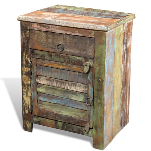 Reclaimed Wood Cabinet Multicolour End Table 1 Drawer 1 Door