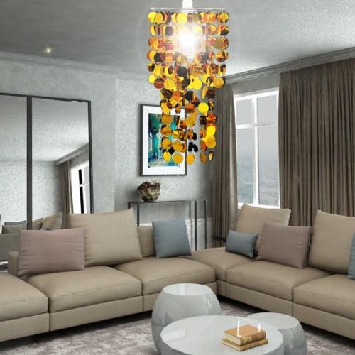 Circle Paillette Pendant Chandelier Lamp 26 x 56 cm GoldHome &amp; Garden<br>Circle Paillette Pendant Chandelier Lamp 26 x 56 cm Gold<br>