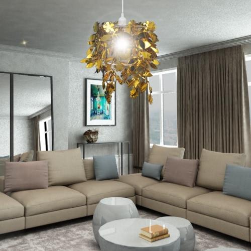 Leaves Paillette Pendant Chandelier Lamp 21,5 x 30 cm GoldHome &amp; Garden<br>Leaves Paillette Pendant Chandelier Lamp 21,5 x 30 cm Gold<br>