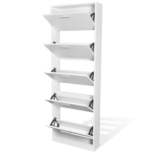 White Wooden Shoe Cabinet with 5 CompartmentsHome &amp; Garden<br>White Wooden Shoe Cabinet with 5 Compartments<br>