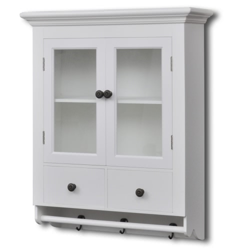 White Wooden Kitchen Wall Cabinet with Glass DoorHome &amp; Garden<br>White Wooden Kitchen Wall Cabinet with Glass Door<br>