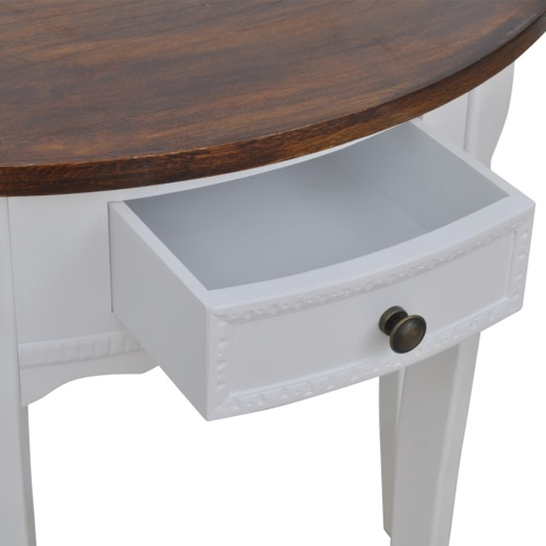 White Half-round Console Table with Drawer Brown TopHome &amp; Garden<br>White Half-round Console Table with Drawer Brown Top<br>