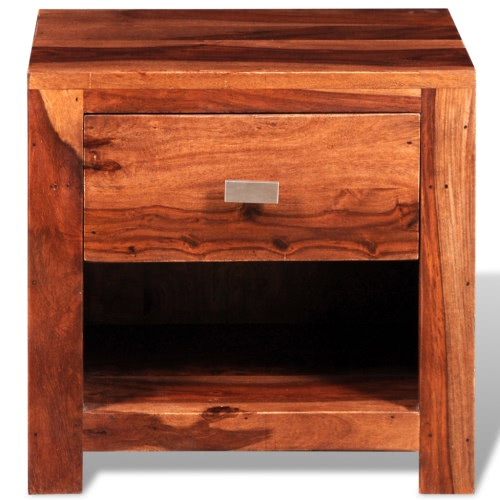 Sheesham Solid Wood Bedside Cabinet with 1 DrawerHome &amp; Garden<br>Sheesham Solid Wood Bedside Cabinet with 1 Drawer<br>