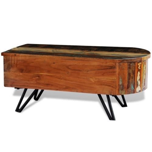 Reclaimed Solid Wood Coffee Table with Iron Pin LegsHome &amp; Garden<br>Reclaimed Solid Wood Coffee Table with Iron Pin Legs<br>