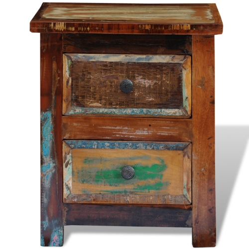 Reclaimed Solid Wood Bedside Cabinet with 2 DrawersHome &amp; Garden<br>Reclaimed Solid Wood Bedside Cabinet with 2 Drawers<br>