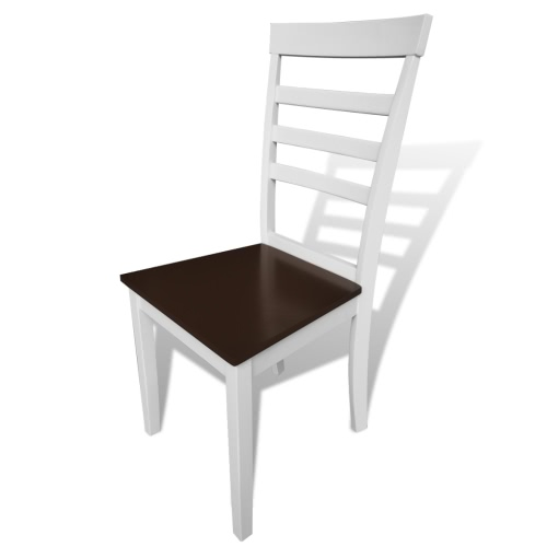 4 pcs Brown White Solid Wood Dining ChairsHome &amp; Garden<br>4 pcs Brown White Solid Wood Dining Chairs<br>
