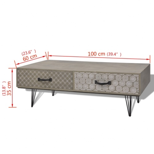 Coffee Table 100x60x35 cm GreyHome &amp; Garden<br>Coffee Table 100x60x35 cm Grey<br>