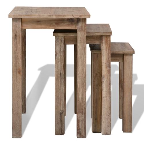 Three Piece Nesting Table Set Solid Acacia WoodHome &amp; Garden<br>Three Piece Nesting Table Set Solid Acacia Wood<br>