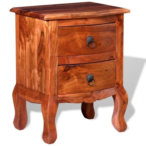 Nightstand com gavetas de madeira de acácia sólida
