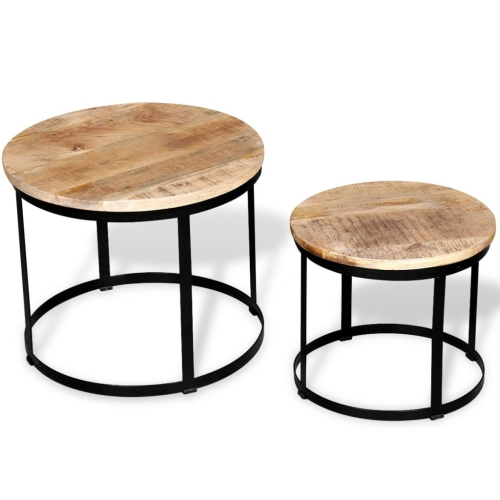 Two Piece Coffee Table Set Rough Mango Wood Round 40 cm/50 cm