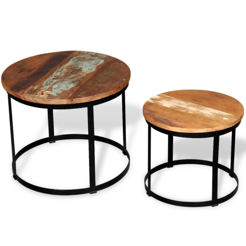 Two Piece Coffee Table Set Solid Reclaimed Wood Round 40cm/50cmHome &amp; Garden<br>Two Piece Coffee Table Set Solid Reclaimed Wood Round 40cm/50cm<br>