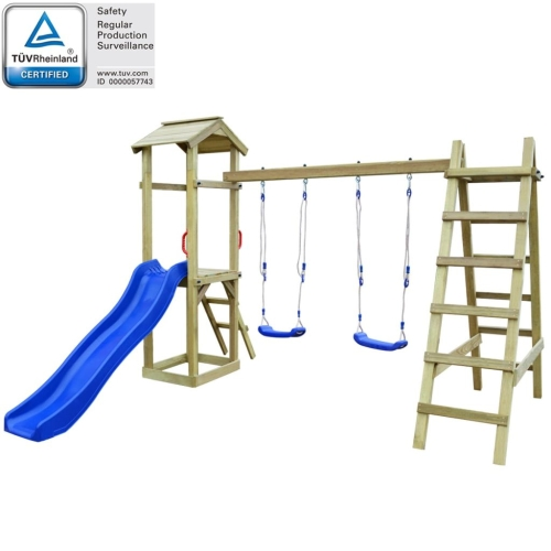 Playhouse Set with Slide Ladders Swings 286x237x218 cm Pinewood (43266+91223+90980)Home &amp; Garden<br>Playhouse Set with Slide Ladders Swings 286x237x218 cm Pinewood (43266+91223+90980)<br>