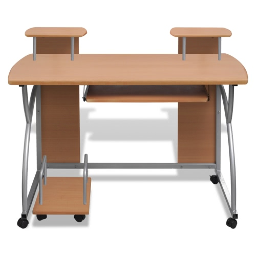 Mobile Computer Desk Pull Out Tray Brown Finish Furniture OfficeHome &amp; Garden<br>Mobile Computer Desk Pull Out Tray Brown Finish Furniture Office<br>