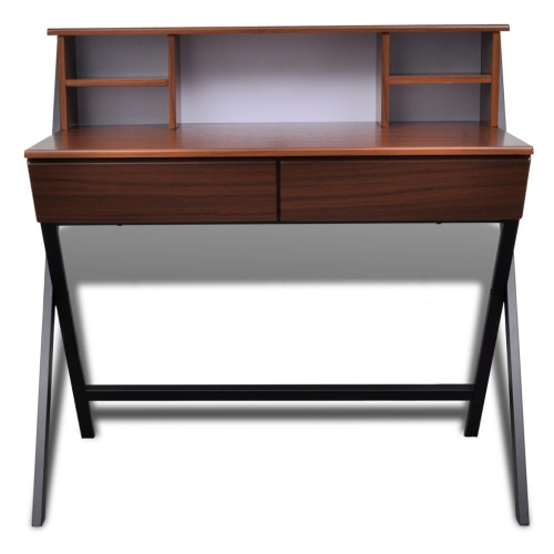 Brown Workstation Computer Desk with 2 DrawersHome &amp; Garden<br>Brown Workstation Computer Desk with 2 Drawers<br>