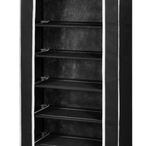 Fabric Shoe Cabinet with Cover 162 x 57 x 29 cm BlackHome &amp; Garden<br>Fabric Shoe Cabinet with Cover 162 x 57 x 29 cm Black<br>