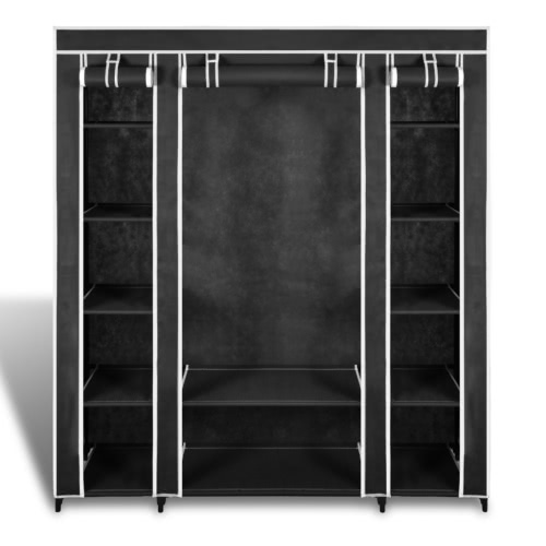 Fabric Cabinet with Compartments 45 x 150 x176 cm BlackHome &amp; Garden<br>Fabric Cabinet with Compartments 45 x 150 x176 cm Black<br>