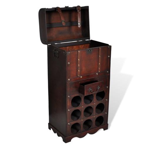 Wooden Wine Rack for 9 bottles Storage Trunk with DrawerHome &amp; Garden<br>Wooden Wine Rack for 9 bottles Storage Trunk with Drawer<br>